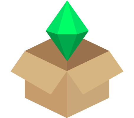 A cardboard box with a plumbob emerging from it